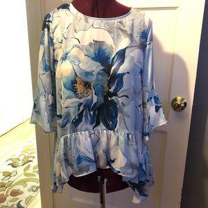 Karen Kane silk feel floral blouse